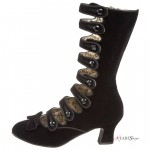 Whimsey Black Velvet Steampunk Victorian Boots at ShoeOodles Shoes for Women, Men and Children,  Oodles of Shoes for Men, Women & Children