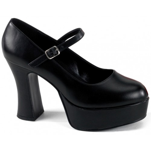 Black Mary Jane Square Heeled Pump at ShoeOodles Shoes for Women, Men and Children,  Oodles of Shoes for Men, Women & Children