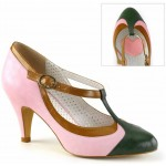 Baby Pink Tri Color Vintage T-Strap Shoe at ShoeOodles Shoes for Women, Men and Children,  Oodles of Shoes for Men, Women & Children