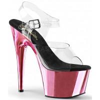 Pink Chrome Platform Clear Strap Platform Sandal