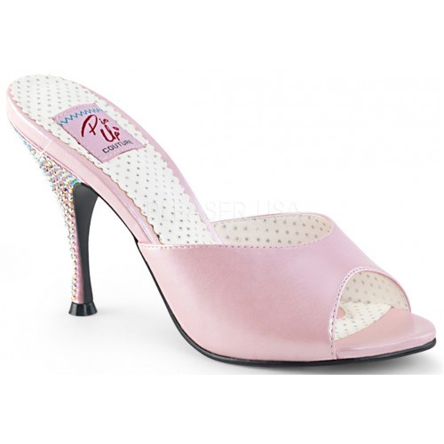 Monroe Rhinestone Heeled Baby Pink Slides at ShoeOodles Shoes for Women, Men and Children,  Oodles of Shoes for Men, Women & Children
