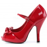 Cutie Pie Red Peep Toe Mary Jane Pin Up Pumps at ShoeOodles Shoes for Women, Men and Children,  Oodles of Shoes for Men, Women & Children