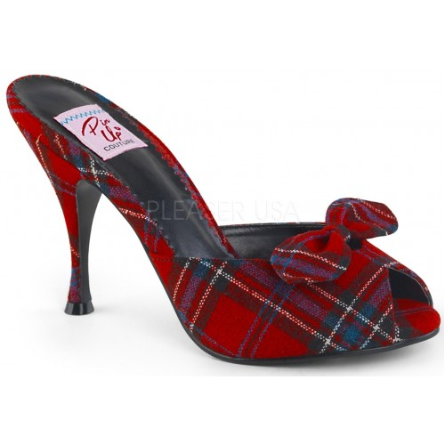Monroe Red Plaid Slide with Bow at ShoeOodles Shoes for Women, Men and Children,  Oodles of Shoes for Men, Women & Children