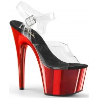 Red Chrome Platform Clear Strap Platform Sandal