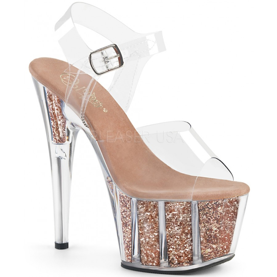 fccb2babcd2 Rose Gold Glitter Filled Clear Platform Adore Sandals at ShoeOodles Shoes  for Women