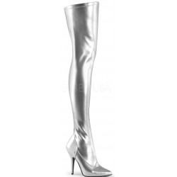 Seduce Silver High Heel Thigh High Boots ShoeOodles Shoes for Women, Men and Children  Oodles of Shoes for Men, Women & Children
