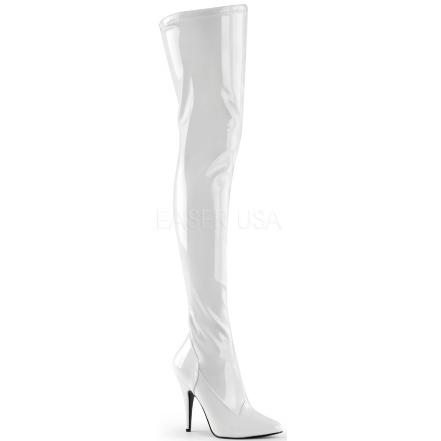 Seduce White High Heel Thigh High Boots