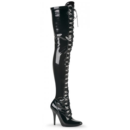 Seduce Black Patent Lace Up Thigh High Boots at ShoeOodles Shoes for Women, Men and Children,  Oodles of Shoes for Men, Women & Children