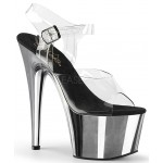 Silver Chrome Platform Clear Strap Platform Sandal at ShoeOodles Shoes for Women, Men and Children,  Oodles of Shoes for Men, Women & Children