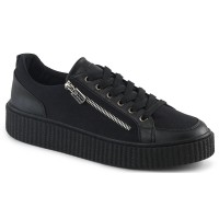 Mens Low Top Black Platform Sneaker