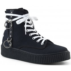 Demonia O-Ring Black Canvas High Top Sneaker ShoeOodles Shoes for Women, Men and Children  Oodles of Shoes for Men, Women & Children