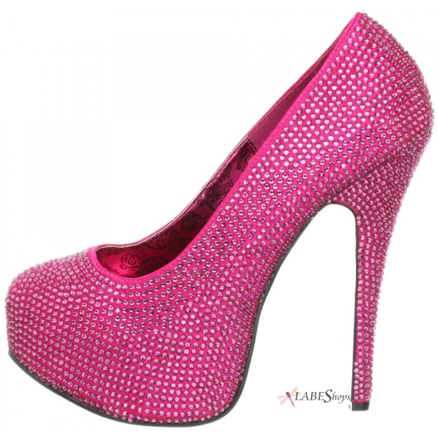 beb09254a799 ... Teeze Hot Pink Rhinestone Platform Pump at ShoeOodles Shoes for Women