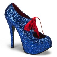 Teeze Blue Glittered Platform Pump