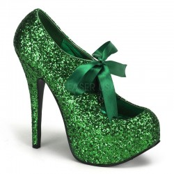 Teeze Green Glittered Platform Pump ShoeOodles Shoes for Women, Men and Children  Oodles of Shoes for Men, Women & Children