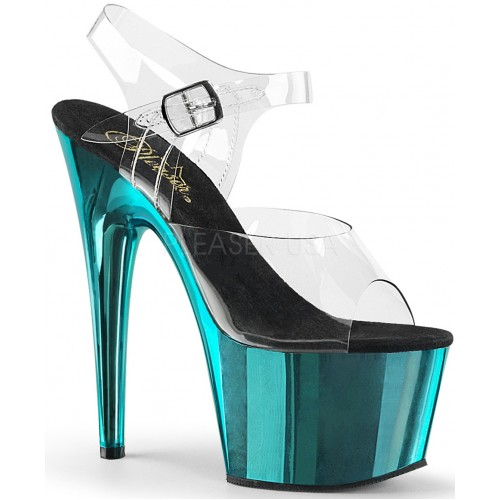 Turquoise Chrome Platform Clear Strap Platform Sandal at ShoeOodles Shoes for Women, Men and Children,  Oodles of Shoes for Men, Women & Children