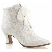 Victorian Jane Ivory Lace Ankle Boot