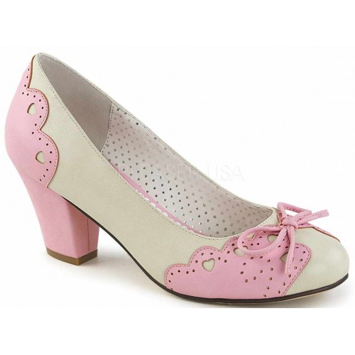 Cuban Heel Cream and Pink Wiggle Heart Pump at ShoeOodles Shoes for Women, Men and Children,  Oodles of Shoes for Men, Women & Children