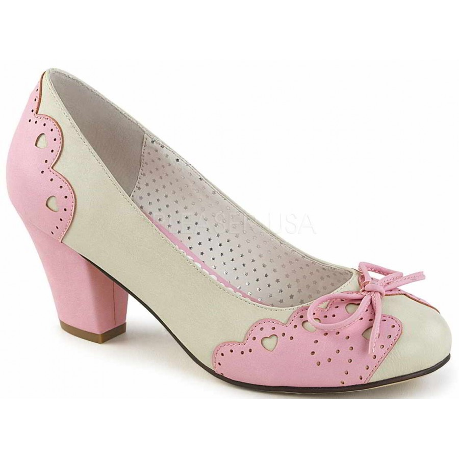 9ae76ede3f800 Cuban Heel Cream and Pink Wiggle Heart Pump at ShoeOodles Shoes for Women,  Men and