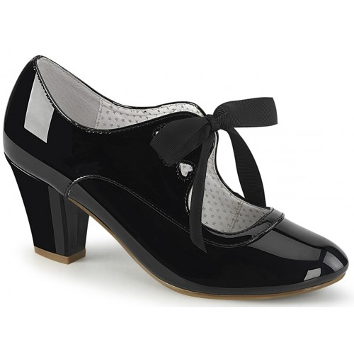 Wiggle Vintage Style Mary Jane Shoe in Black Patent at ShoeOodles Shoes for Women, Men and Children,  Oodles of Shoes for Men, Women & Children
