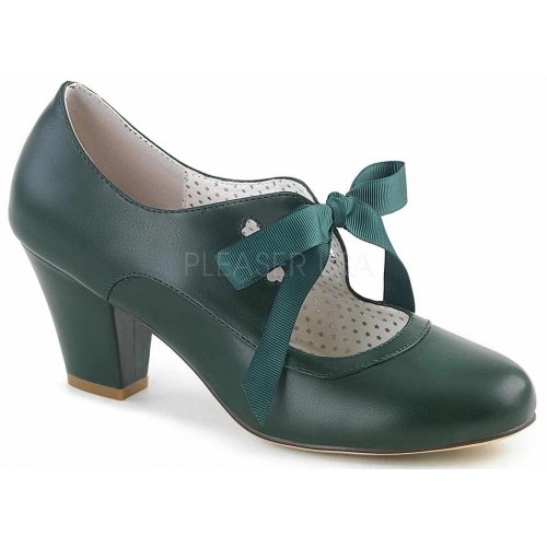 Wiggle Vintage Style Mary Jane Shoe in Forest Green at ShoeOodles Shoes for Women, Men and Children,  Oodles of Shoes for Men, Women & Children