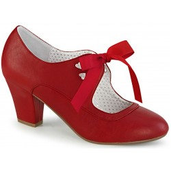Wiggle Vintage Style Mary Jane Shoe in Red Faux Leather ShoeOodles Shoes for Women, Men and Children  Oodles of Shoes for Men, Women & Children