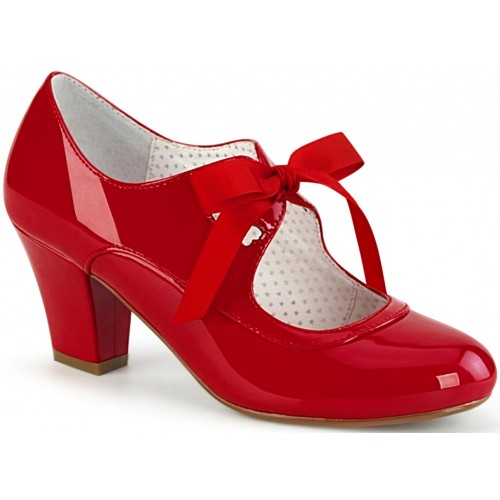 Wiggle Vintage Style Mary Jane Shoe in Red Patent at ShoeOodles Shoes for Women, Men and Children,  Oodles of Shoes for Men, Women & Children